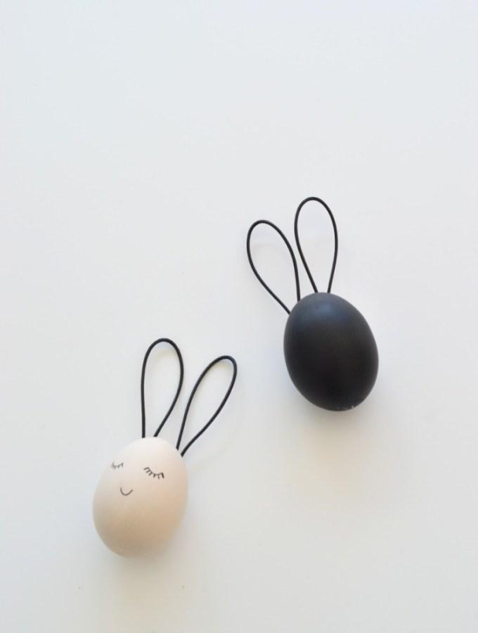 Chic black & white Easter egg bunnies