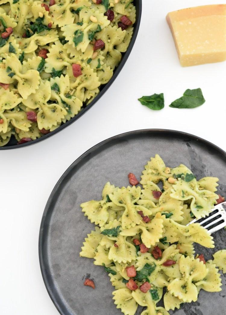 easy pasta pesto spinach recipe