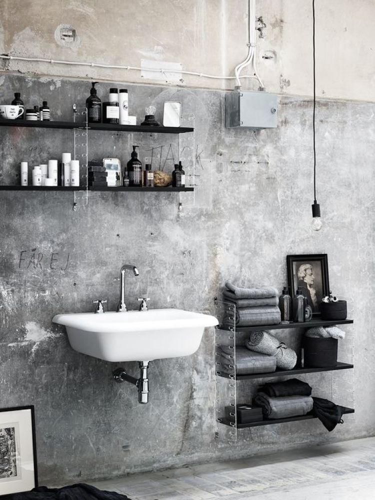 string shelf system for bathroom