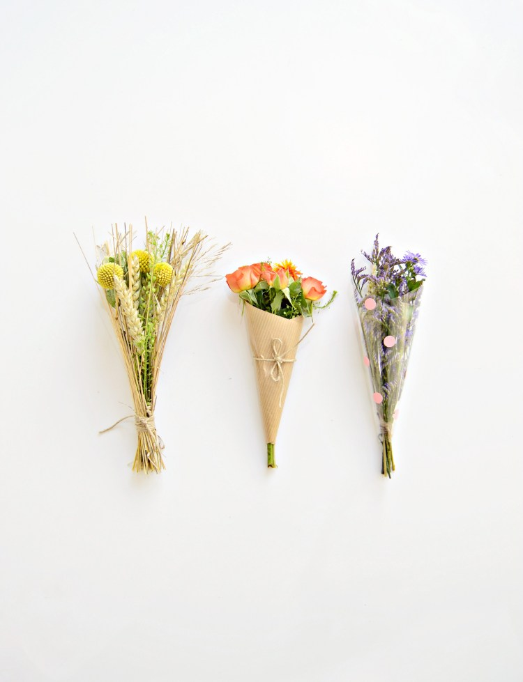 3 ways to wrap a mini bouquet of flowers