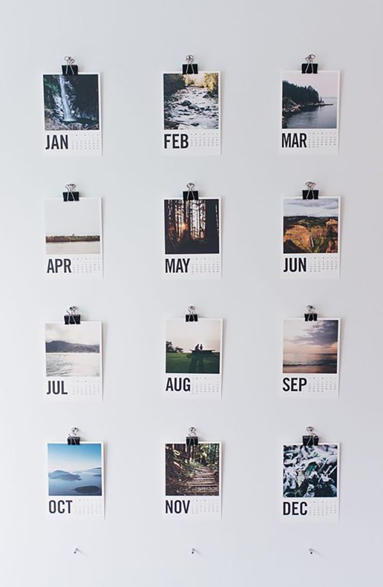 DIY photo wall calendar