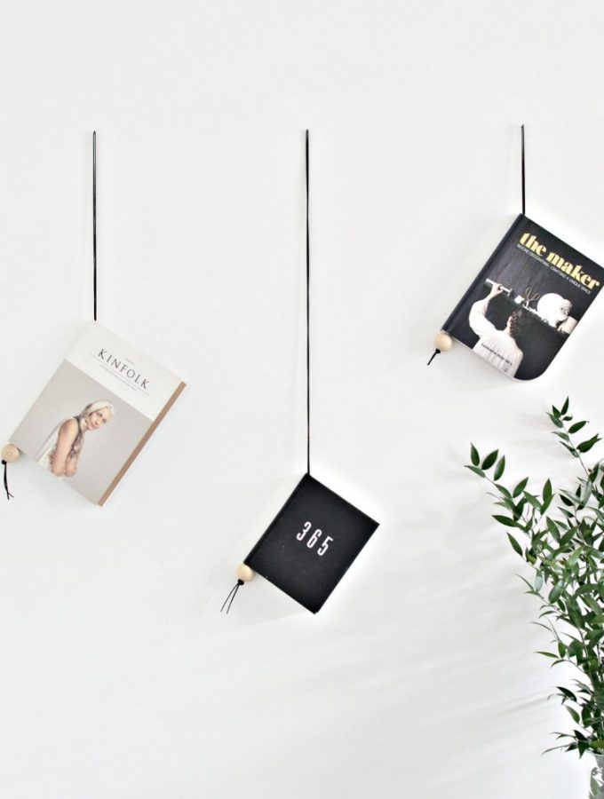Minimal suede and wood magazine holder DIY