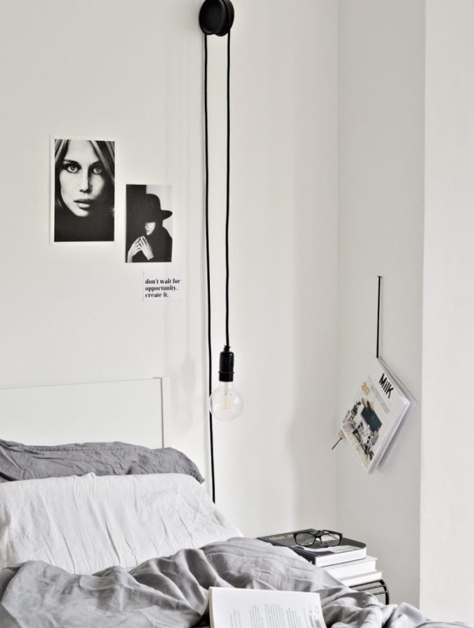 DIY hanging bedside lamps with ikea coasters