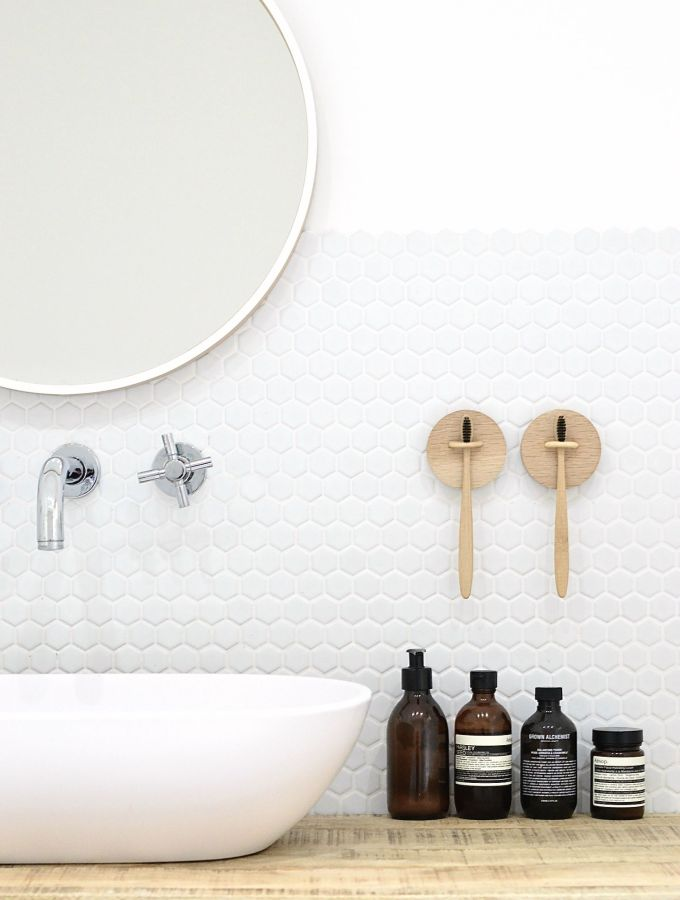 DIY wall mounted toothbrush holder