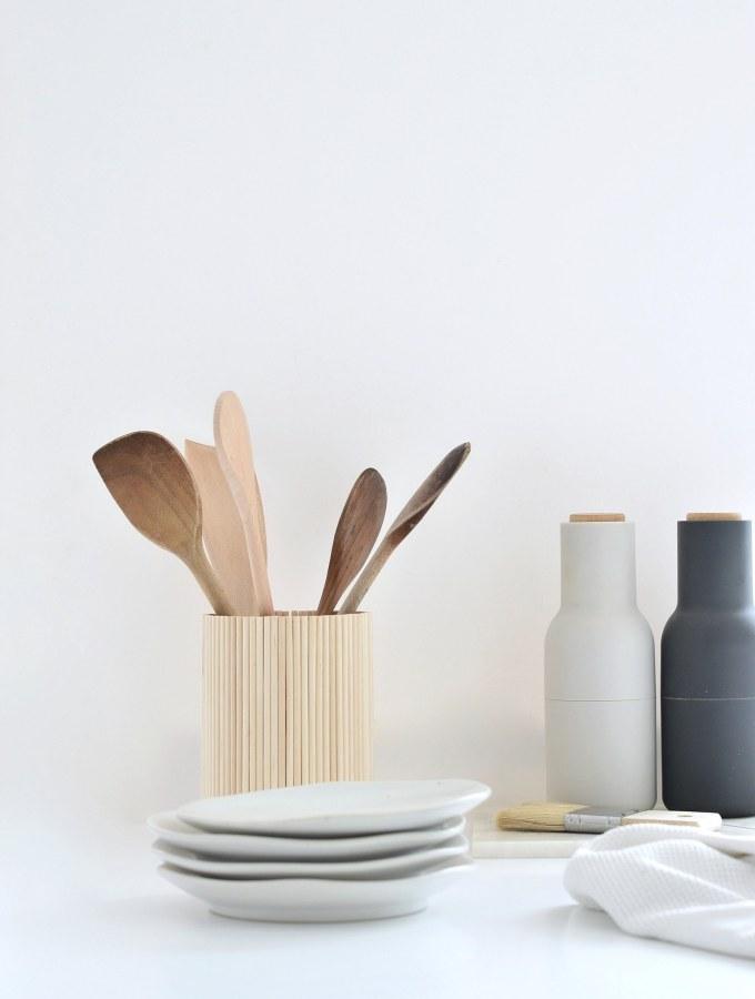 Ikea hack: diy wooden utensil holder for under a tenner