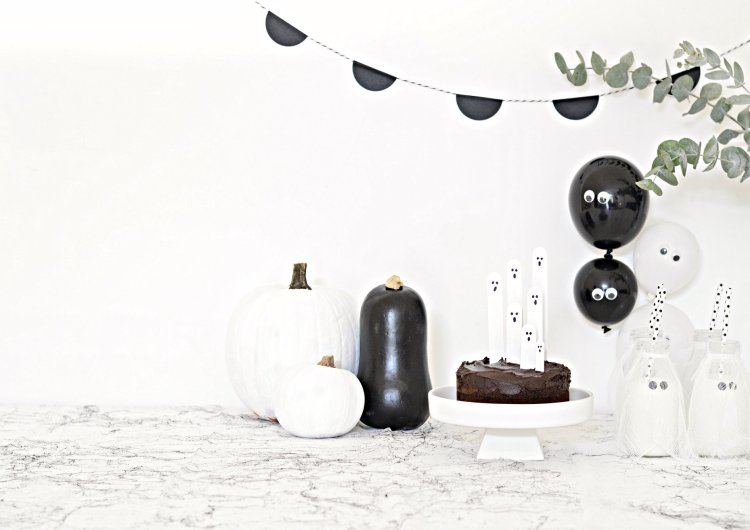 black and white halloween party decorations
