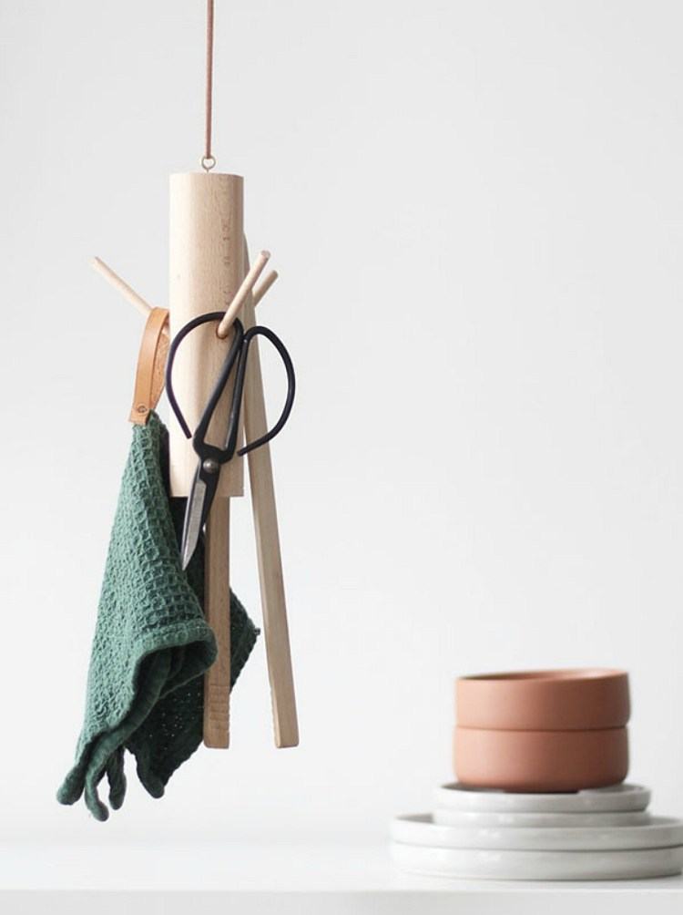 diy hanging kitchen utensil holder