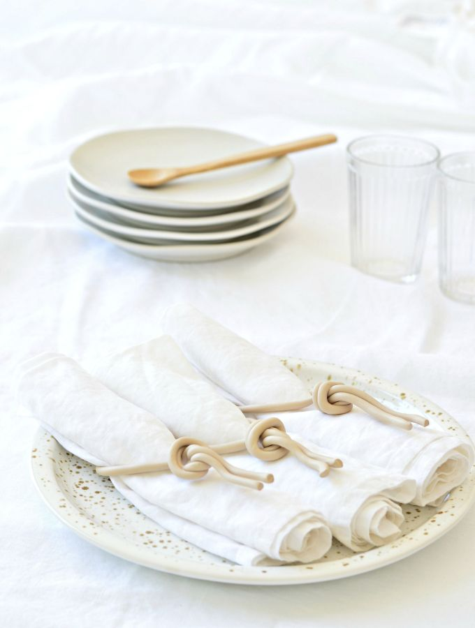 DIY rope napkin rings (in a beautiful soft sand colour)