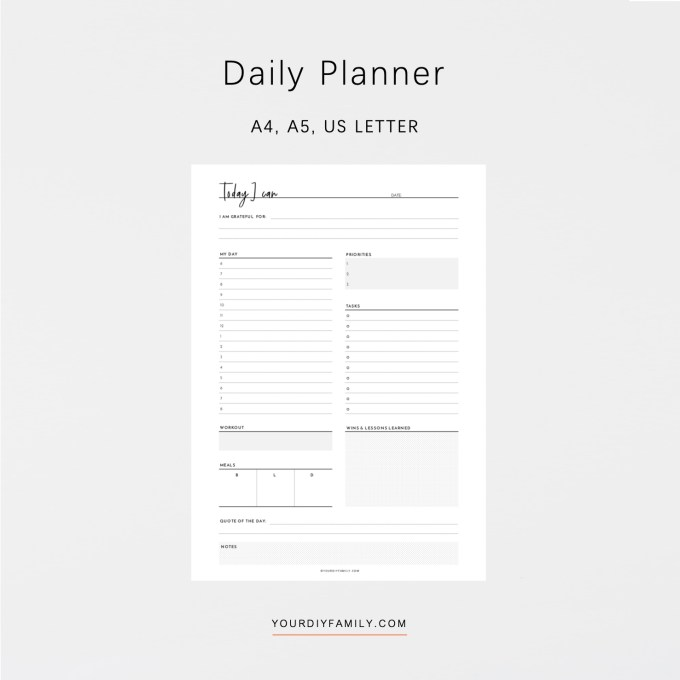 black and white daily planner printable