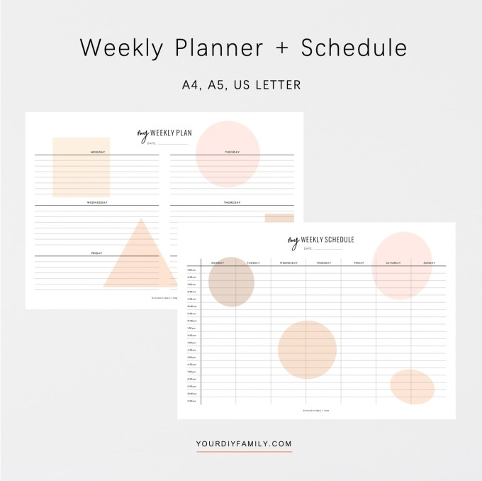 hourly weekly schedule printable