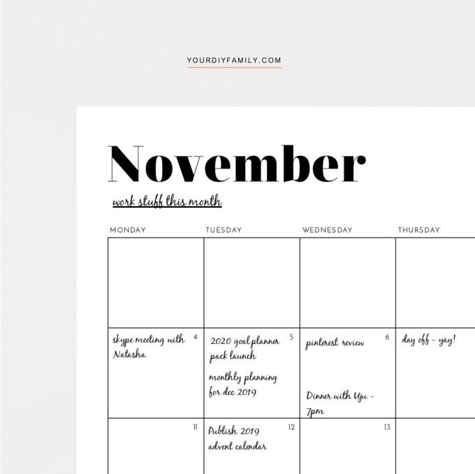 monthly minimalist printable calendar