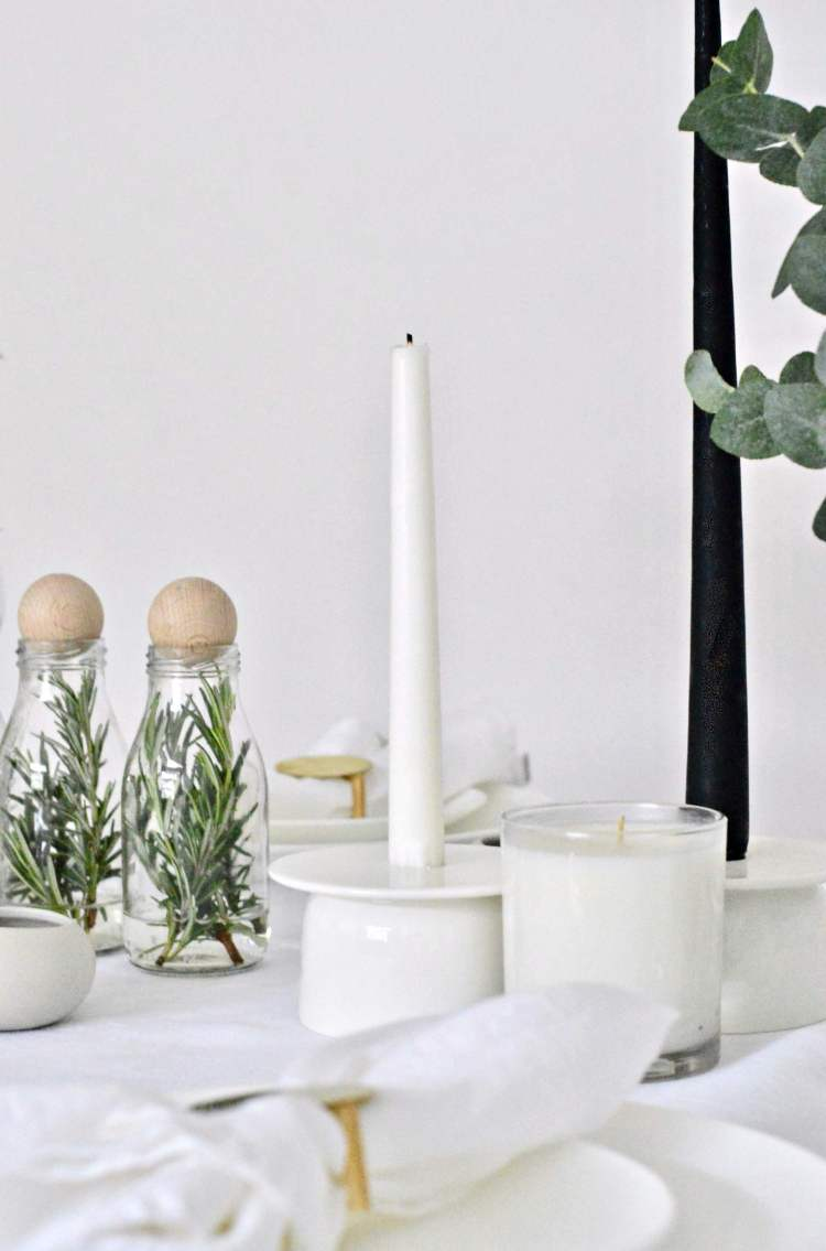 simple white Christmas table setting