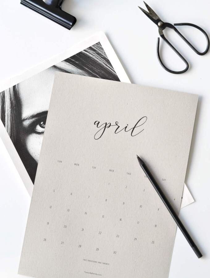 minimalist calendar printable 2020