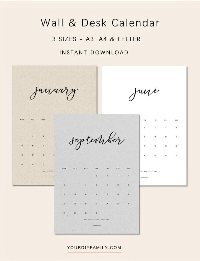 calendar printable 2021
