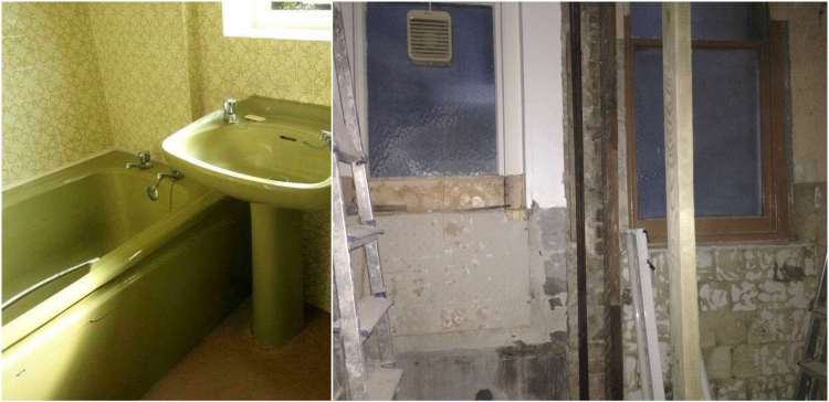 avocado bathroom before and after