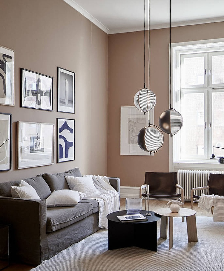 grey and [onk living room scandinavian