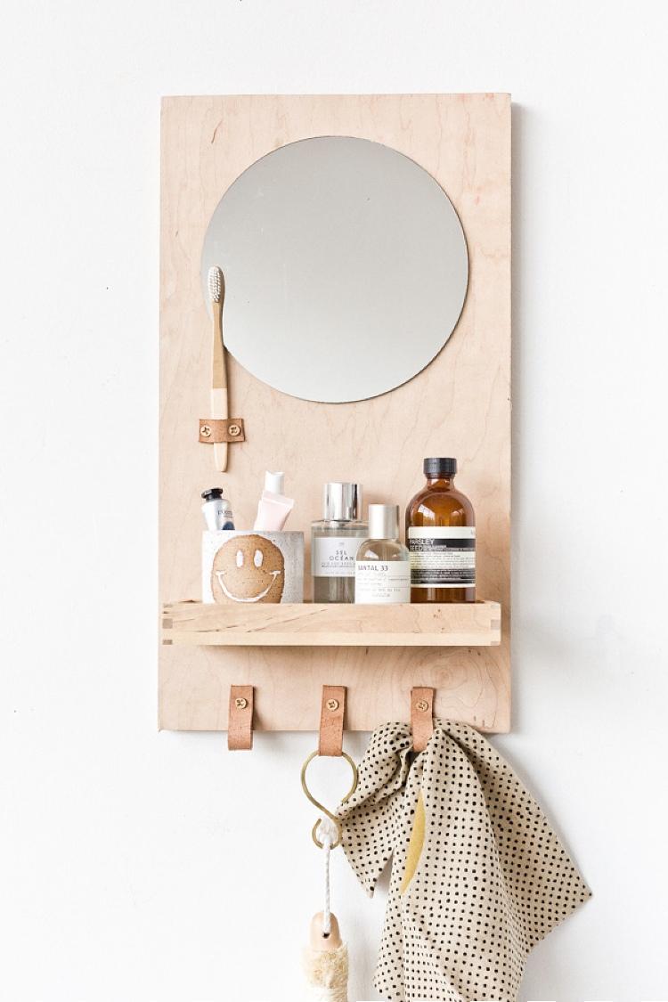 DIY bathroom storage with mirror