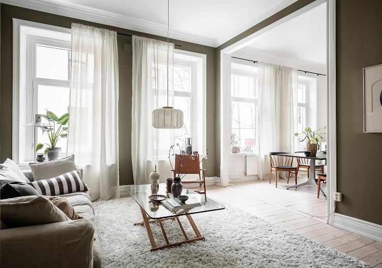 olive green living room Scandinavian