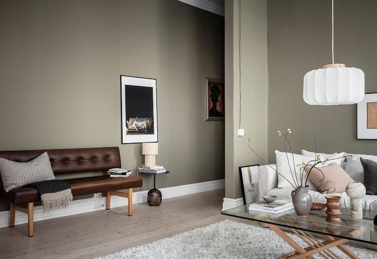 warm green Scandinavian home