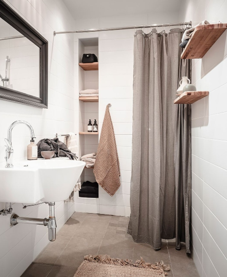 white bathroom with beige floor