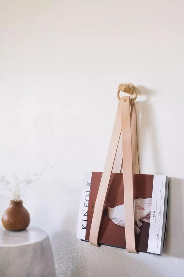 DIY magazine hanger leather