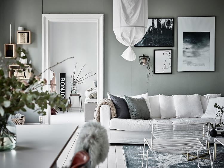 grey green walls living room