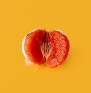 image of a peeled citrus fruit