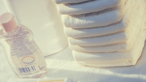 image of diapers and baby oil