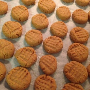 A cookie sheet with rows of small cookies.