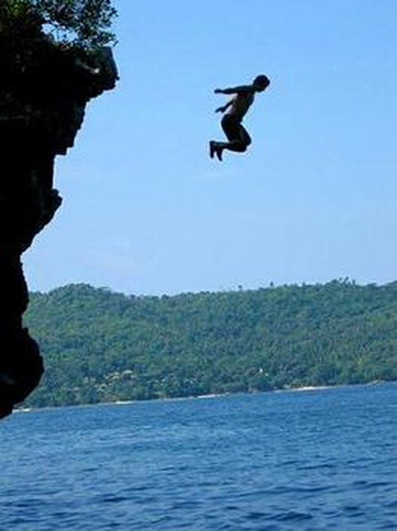 Image result for jumping off a cliff into water