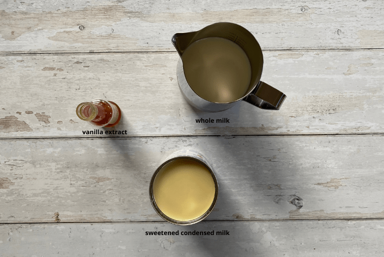 All ingredients that are used to make French vanilla creamer at home.