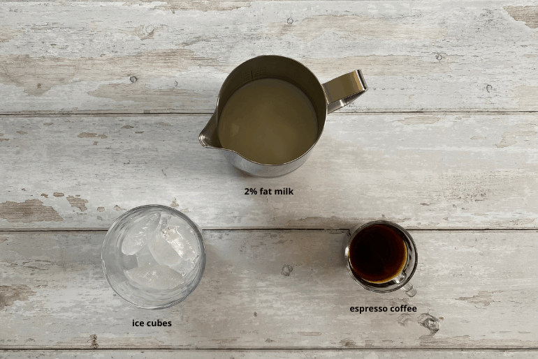 All ingredients that are used to make an iced cappuccino at home.