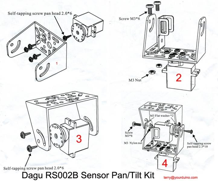 Sensor pan/tilt kit with 2 Servos