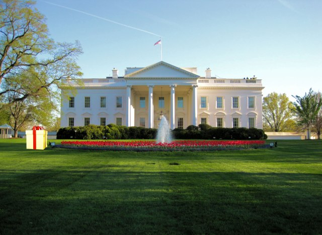 Gigantic Gold-Plated Package Left on White House Lawn