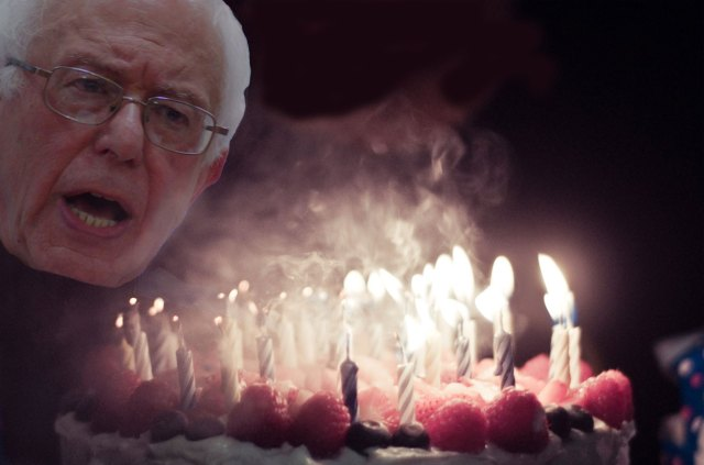 Bernie Sanders blew out all 78 of his birthday candles in a single deafening shout