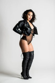 Daddy An Li in lace and leather – the perfect miss of tough and sweet. By Louis Seigal.