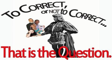 hamlet meme holding students - error correction is right for them or not he thinks