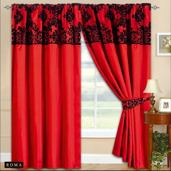 New Fully Lined Ready Made Tape Top Curtains Rose Red 2 Tie