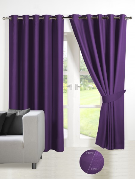 Energy Saving Thermal Blackout Eyelet Curtains Deep Purple