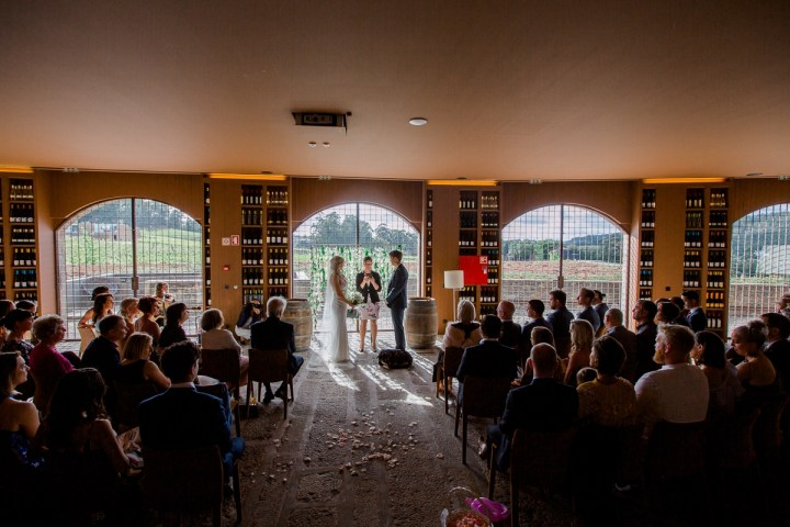 Photo of wedding guests in a wive cellar with a view of vineyards and at the front the bride and groom with their Douro Valley wedding officiant.
