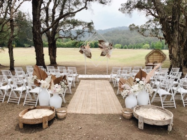 White bamboo chairs