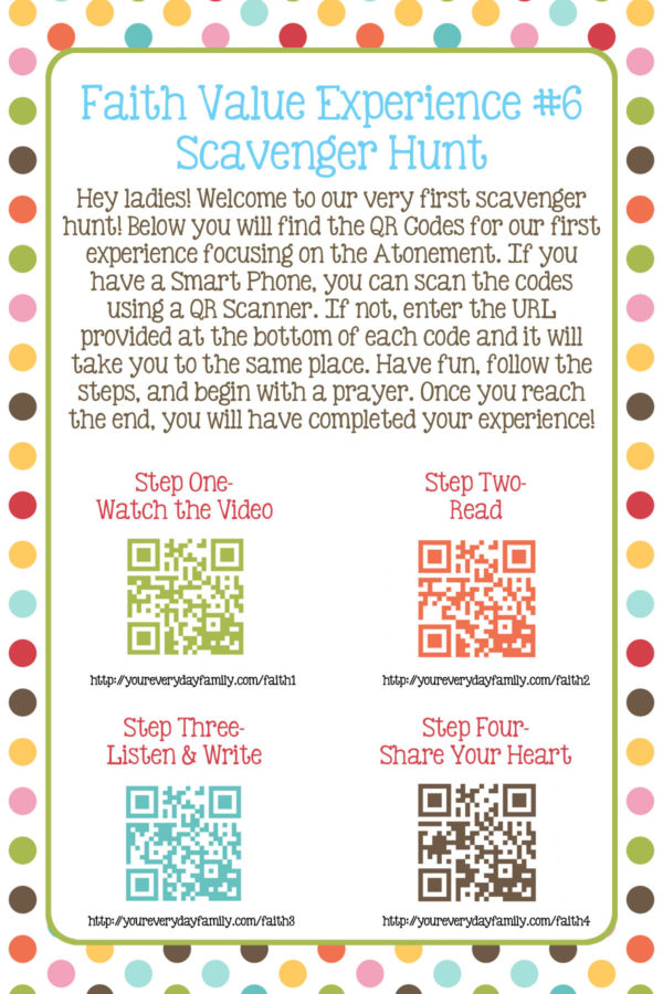 Young Women Personal Progress Faith QR Code Scavenger Hunt
