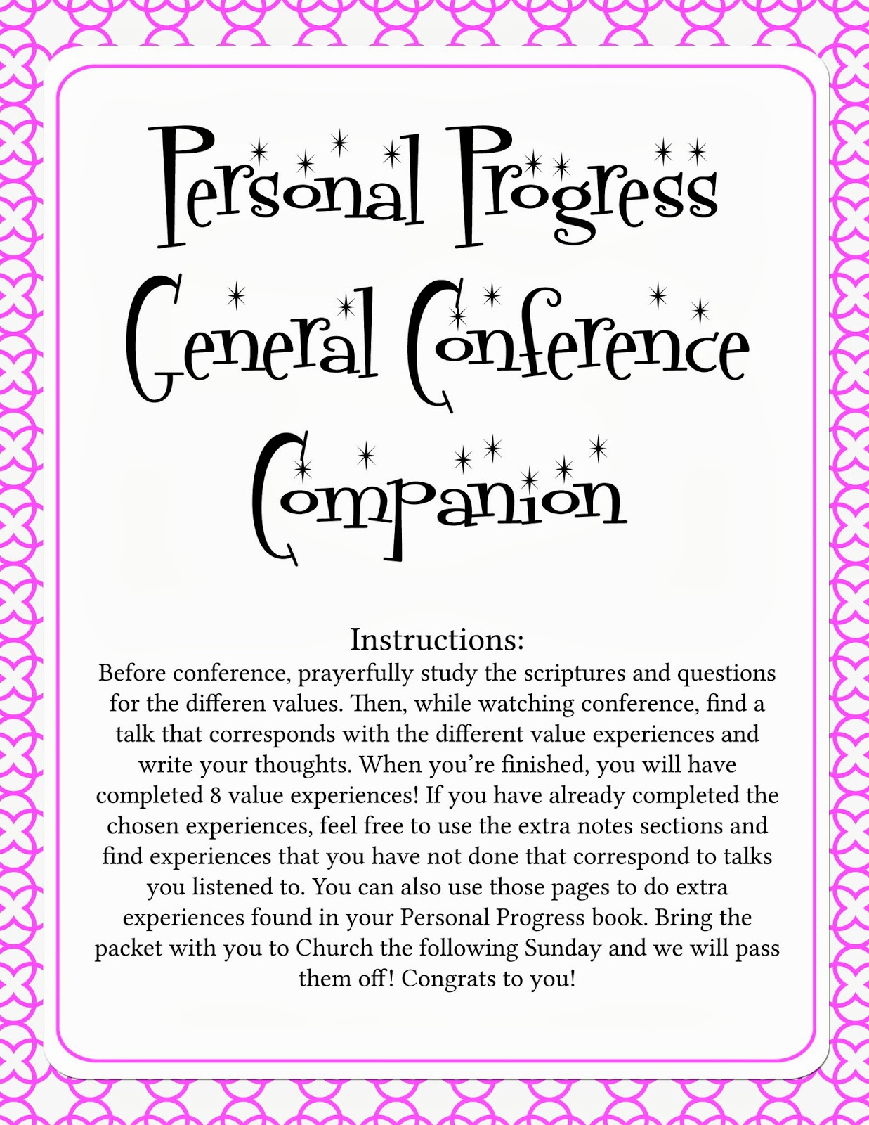 Personal Progress General Conference Packet