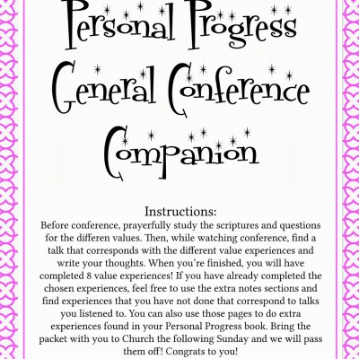 LDS YW Personal Progress General Conference Packet