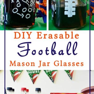 DIY Football Mason Jar Glasses