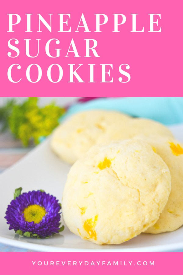 Pineapple Sugar Cookies are a delicious way to change up your regular sugar cookie recipe with a hint of pineapple and tropical flavor! They are the perfect cookie to serve at a wedding shower, luau, or to celebrate Disney's