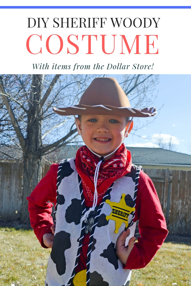 ba908142 This is another fun dress-up idea as part of my Dollar Store Dress Up  series! This outfit was inspired by Sheriff Woody and includes a vest, hat,  bandana, ...