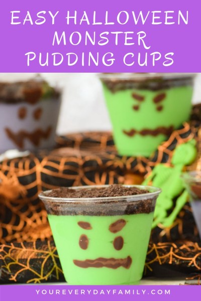 Easy Halloween Monster Pudding Cups