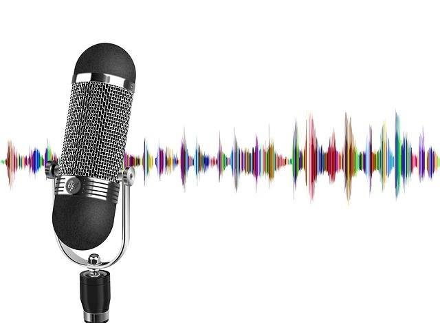 podcast microphone and sound waves