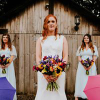 Bride & Bridesmaids with Colourful Umbrellas